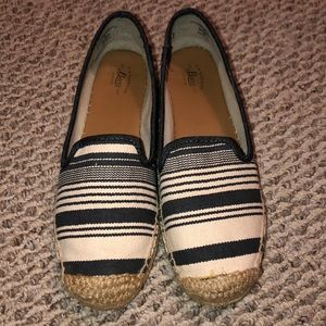 Bass navy and tan striped slip ons